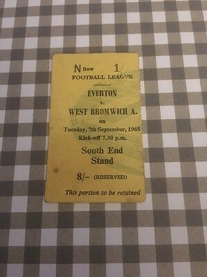 Ticket : Everton V West Bromwich Albion - 65/66