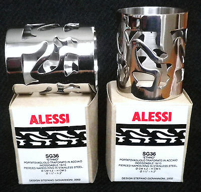 ALESSI NAPKIN RINGS x2-ETHNO-STAINLESS STEEL-STYLISH-BOXED-GREAT CONDITION!!!