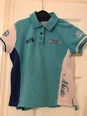 Musto Zara Phillips/landrover Childs Blue Polo Shirt 7/8 Years