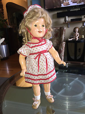 """Antique Ideal marked 1935 Vintage Composition 18"""" Shirley Temple Doll"""