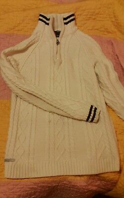 Scott Cable Knit mens medium m stained workwear Jumper (Ivory)