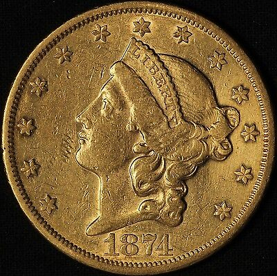 1874-S $20 Gold Liberty Double Eagle - Better date Coin - Free Shipping USA