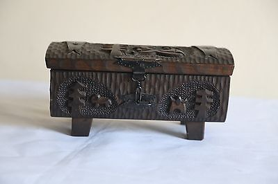 Antique hand carved decorative wooden box container