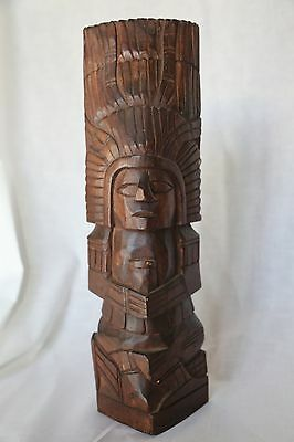 Mexican hand carved Mayan wooden statue