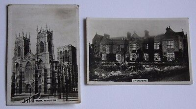 1936 2x Photo Cigarette Cards Sights of Britain No 10 Chequers & 33 York Minster