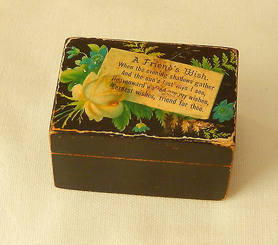 """Mauchline  2 1/2"""" by 2"""" Box in Black with Friend's Wish verse"""