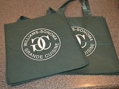 2 New Williams Sonoma Grande Cuisine Reusable Shopping Bags Large Eco Friendly