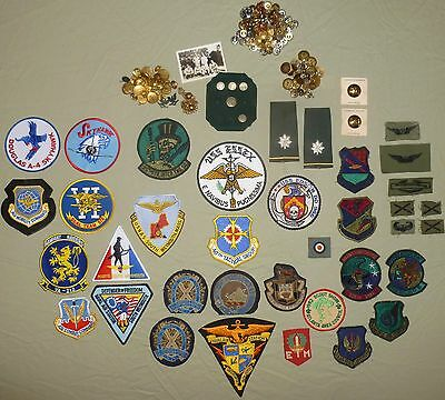 Military patches - some scarce - WW2 - Navy - Air Force - Fraternity - & Buttons