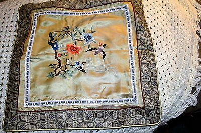 """vintage Chinese silk embroidered pillow cover 16"""" sq."""