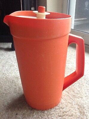 Vintage Tupperware 2 Quart Pitcher Orange with Push Button Lid made in USA