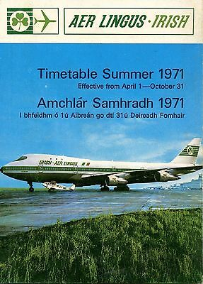 Aer Lingus Timetable Summer 1971