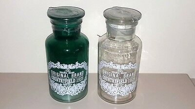Set Of 2 Shabby Chic Vintage Jade Green/ Clear  Home Decorative Glass Bottles