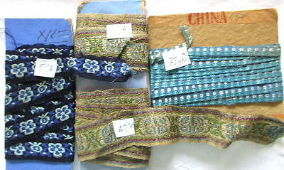 LOT OF 3 ANTIQUE LENGTHS OF CHINESE SILK RIBBON/TRIM~6yds+~DOLLS