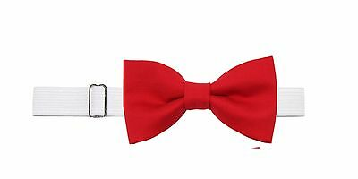 Boys (6 -11 Yrs) Red Pre Tied Cotton Bow Tie on Elastic Neckband