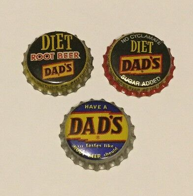 3 Dad's Root Beer cork lined soda bottle caps 3 different