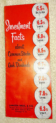 Pamphlet Investment Facts about Common Stocks & Cash Dividends Lamson Bros 1954