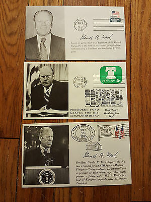 3 Original President Gerald Ford Event Covers - Historic Date Cover ! RARE