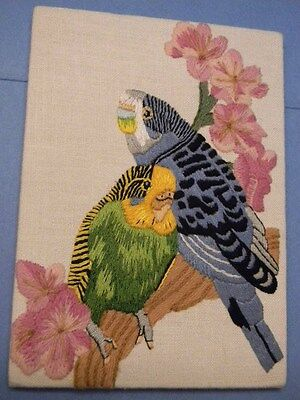 Completed Needle Treasures Crewel TWO PARAKEETS - 7 x 5 or 8 x 10 -  JCA NEW