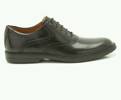 Mens  Clarks Bilton forge Black lace up leather brogue shoes size 10 BNIB