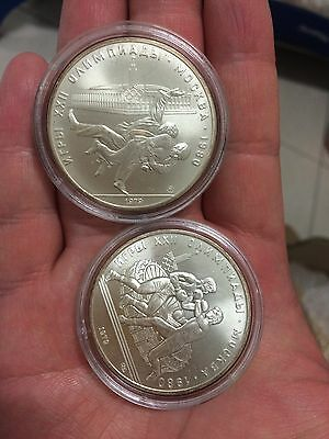 1979 2pc russia olympic 10 roubles silver coin