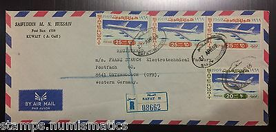 Kuwait 1969, Aviation franking Registered Cover to Germany VF
