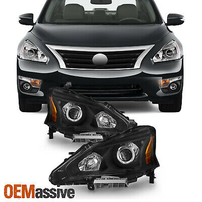 Fits 2013 2014 2015 Altima 4DR Sedan Black Projector Headlights Lamp Replacement