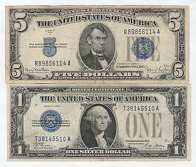 Circulated 1928-A $1 and 1934-D $5 Silver Certificates--Ungraded, Funny Back