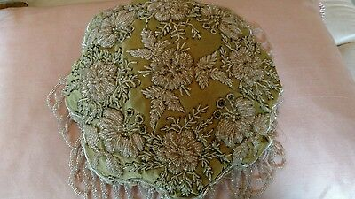 OLD beaded victorian pin cushion? DISPLAY PIECE beaded flowers