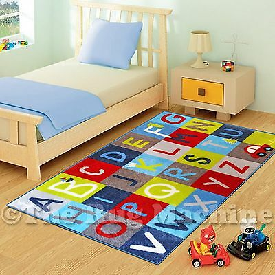 COOL ALPHABET LETTERS FUN PLAY KIDS RUG 100x150cm NON-SLIP & WASHABLE **NEW**