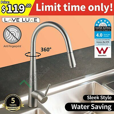 Handy Kitchen Mixer Tap Faucet 360° Swivel+Pull Out Brushed Nickel Finish WELS