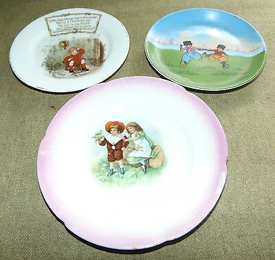 THREE ANTIQUE Children's Plates NURSERY RHYME Germany