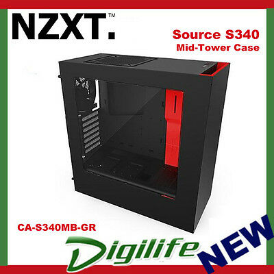 NZXT SOURCE S340 compact ATX Mid-Tower case all-steel panels MATTE BLACK & RED
