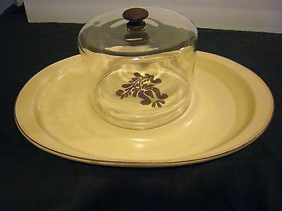 Pfaltzgraff Village Style Cheese & Cracker Tray With Glass Dome #703 Vgc Vgc