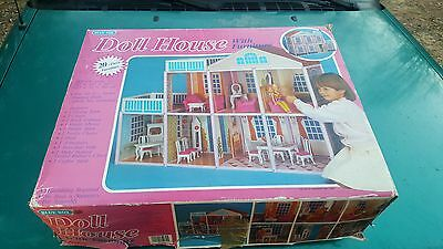 Vintage Rare Blue Box Barbie Doll House COMPLETE HOUSE +20 pc Furniture in Box