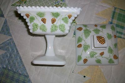 Westmoreland Milk Glass Candy Dish with Gold Grapes and Green leaves Beaded Edge