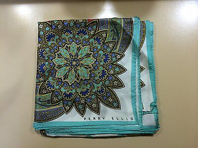 Vintage Perry Ellis Square Silk Scarf Turquoise Blue & Red Paisley Design