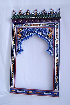 """Moroccan mirror made of wood handmade by craftman of Chefchaouen 23.2'' x 41.3"""""""