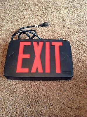 Lithonia Lighted Hanging EXIT SIGN Black & Red Emergency Light