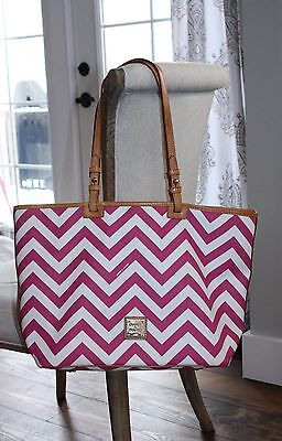 Dooney & Bourke Authentic Leather Large Tote Shoulder Bag Pink White Chevron