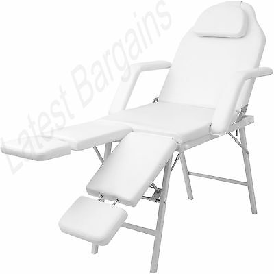 White Portable Massage Table Chair Beauty Therapy Bed Waxing Faux Leather