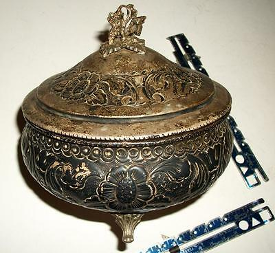 Antique 900 Coin Silver Tea Caddy Embossed Repousse Floral 327 Grams No Damage