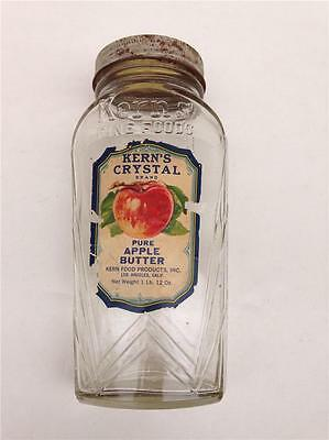 "Vintage Kern's Crystal Pure Apple Butter 8"" Glass Jar with Screw-on Metal Lid"