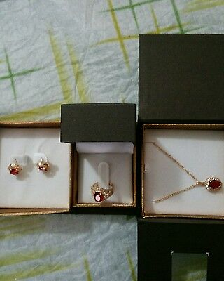 Ruby gold ear rings ring and necklace set