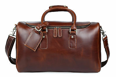 Men's Genuine Leather Shoulder Weekend Travel Luggage Duffel Overnight Gym Bags