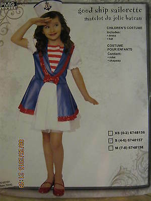 NEW Halloween Costume Sailorette Sailor Girls Small 4 6 Dress & Hat