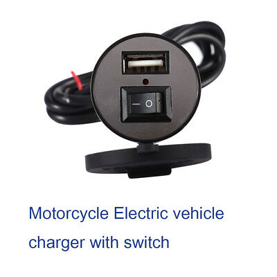 12V Motorcycle Bike USB Mobile Phone Power Charger Adapter Switch Waterproof AP