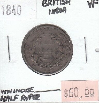 East India Company Half 1/2 Rupee 1840 VF Very Fine