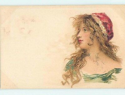 Pre-1907 foreign art nouveau PRETTY FRENCH GIRL WEARING RED HAT HL7238