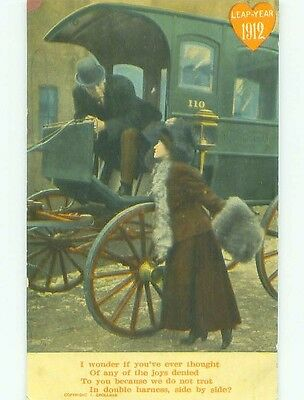 1912 leap year GREAT CLOSE-UP VIEW OF ANTIQUE COVERED CARRIAGE HL4519
