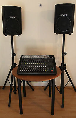 P.A. System: Mixer/Amp, Speakers and stands
